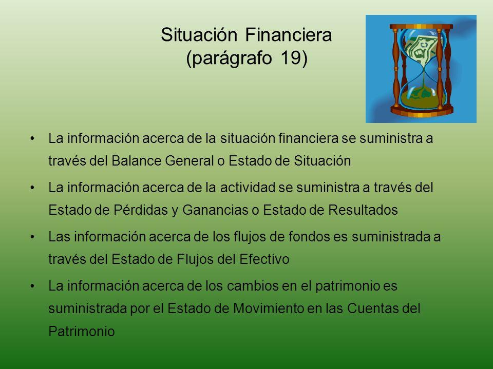 La información acerca de la situación financiera se suministra a través del Balance General o Estado de Situación La información acerca de la activida
