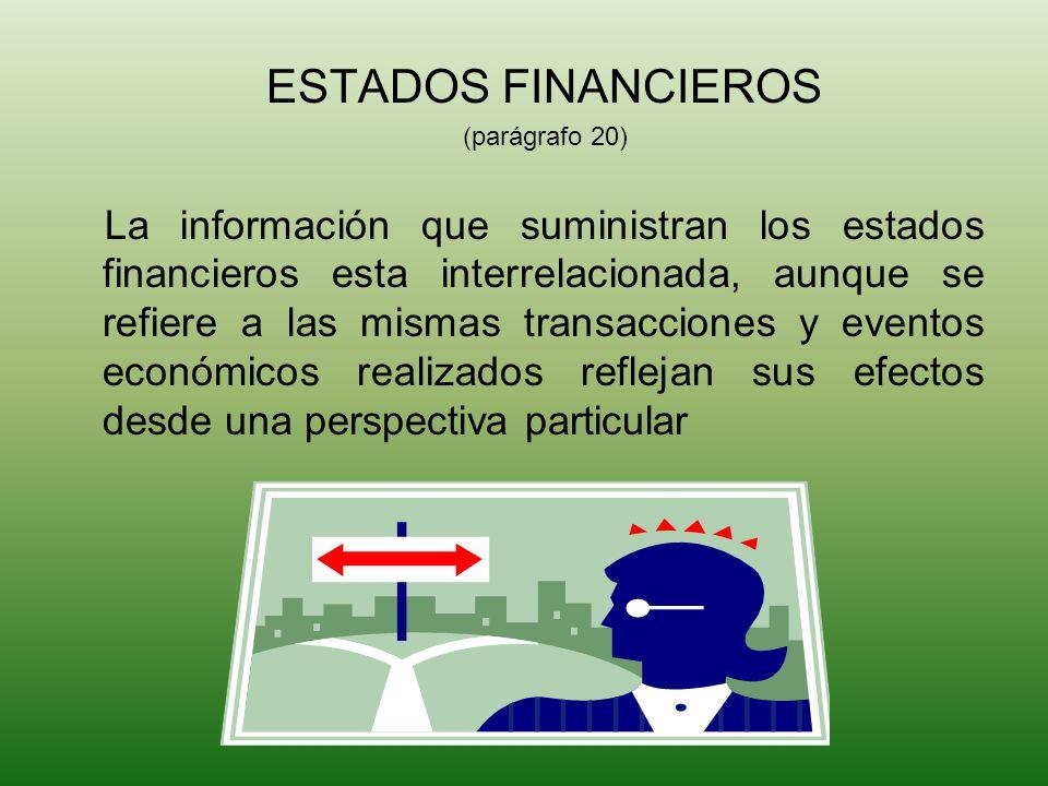 ESTADOS FINANCIEROS (parágrafo 20) La información que suministran los estados financieros esta interrelacionada, aunque se refiere a las mismas transa