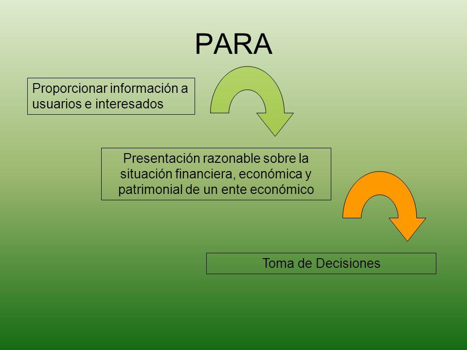 PARA Proporcionar información a usuarios e interesados Presentación razonable sobre la situación financiera, económica y patrimonial de un ente económ