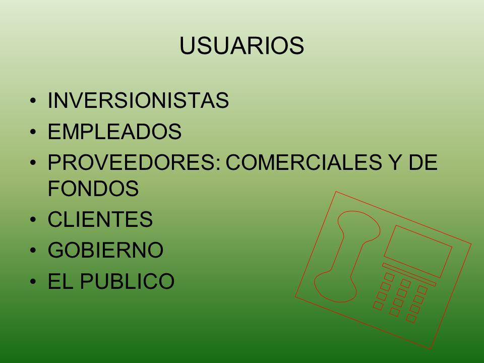 USUARIOS INVERSIONISTAS EMPLEADOS PROVEEDORES: COMERCIALES Y DE FONDOS CLIENTES GOBIERNO EL PUBLICO