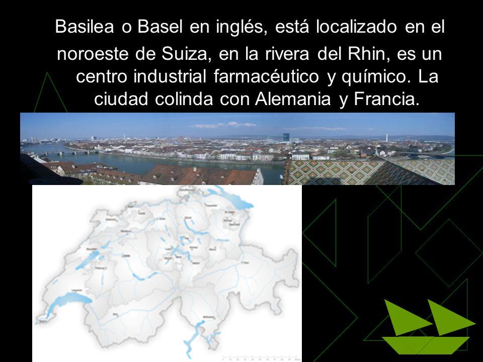 Basilea o Basel en inglés, está localizado en el noroeste de Suiza, en la rivera del Rhin, es un centro industrial farmacéutico y químico. La ciudad c