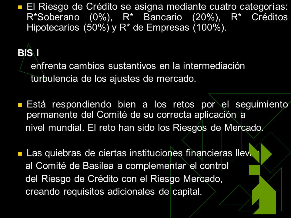 El Riesgo de Crédito se asigna mediante cuatro categorías: R*Soberano (0%), R* Bancario (20%), R* Créditos Hipotecarios (50%) y R* de Empresas (100%).