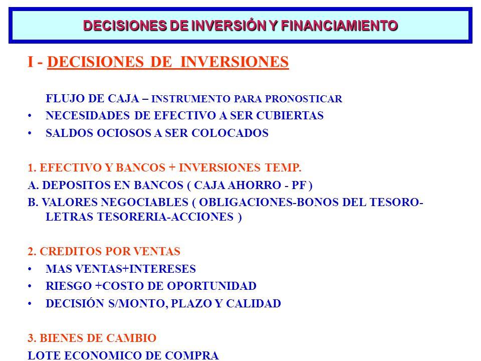 I - DECISIONES DE INVERSIONES FLUJO DE CAJA – INSTRUMENTO PARA PRONOSTICAR NECESIDADES DE EFECTIVO A SER CUBIERTAS SALDOS OCIOSOS A SER COLOCADOS 1. E