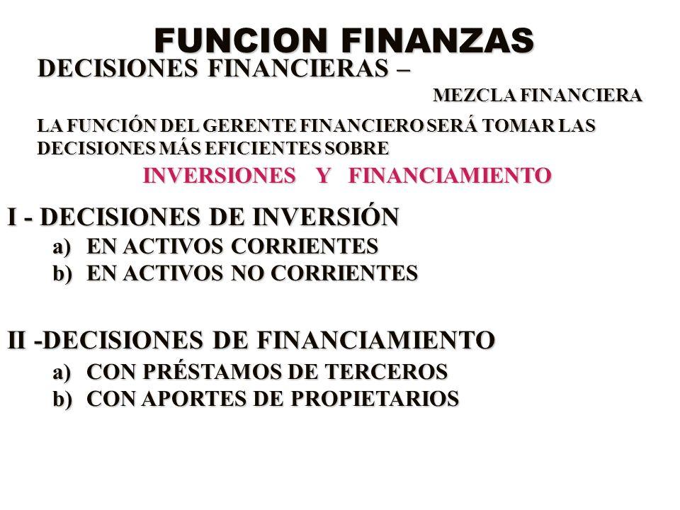 FUNCION FINANZAS DECISIONES FINANCIERAS – MEZCLA FINANCIERA LA FUNCIÓN DEL GERENTE FINANCIERO SERÁ TOMAR LAS DECISIONES MÁS EFICIENTES SOBRE INVERSION
