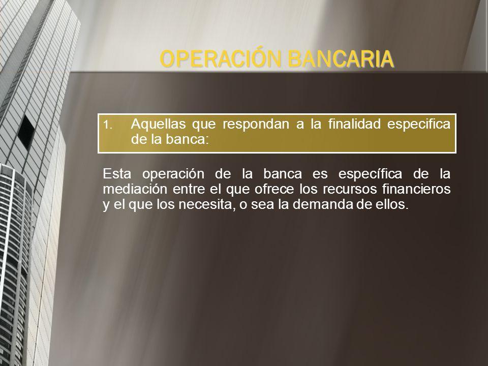 1. Aquellas que se les autoriza realizar a los bancos: Aquí se parte del supuesto de que no existen operaciones bancarias consideradas en forma abstra