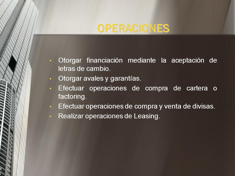 OPERACIONES Captar ahorro a través de depósito a término. Negociar títulos valores emitidos por terceros. Otorgar préstamos. Comprar y vender títulos