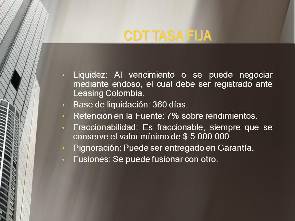 CDT TASA FIJA Ejemplo CDT Tasa Fija Suleasing: Tipo de Titulo Valor: Nominativo. Plazo: Desde 30 días hasta 360 días. Monto mínimo: Aperturas desde $