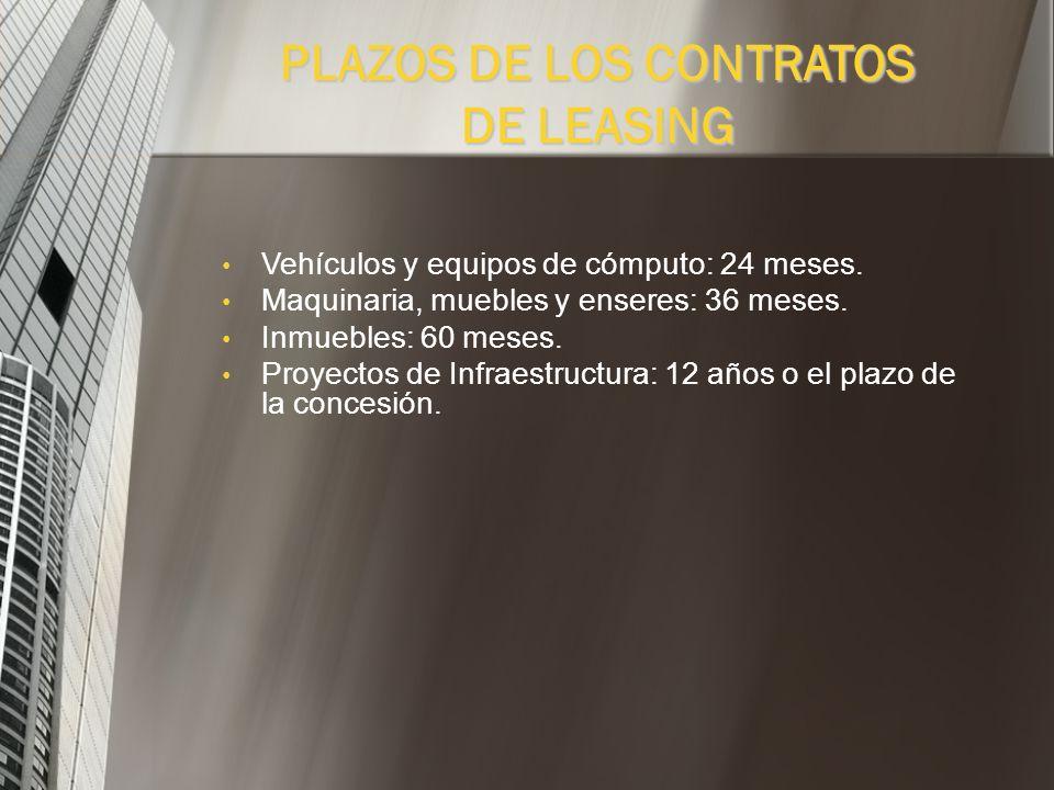 Leasing Municipal: Destinado a entes territoriales Cross Border Leasing: Es un contrato en el cual la compañía de Leasing y el locatario se encuentran