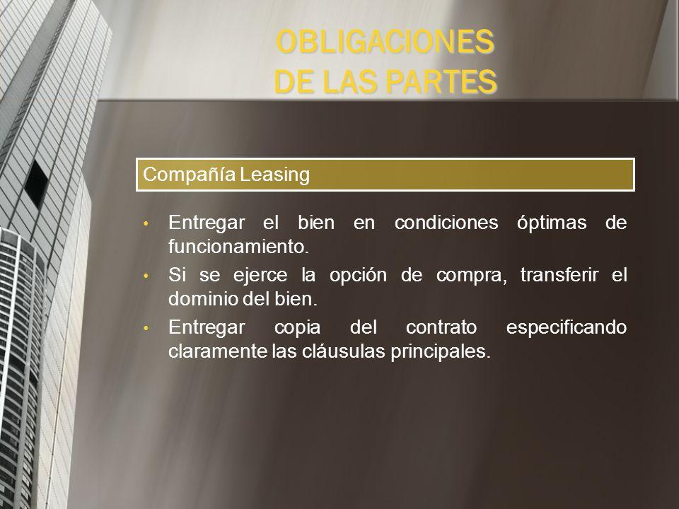 PLAZOS DE LOS CONTRATOS DE LEASING Vehículos y equipos de cómputo: 24 meses. Maquinaria, muebles y enseres: 36 meses. Inmuebles: 60 meses. Proyectos d