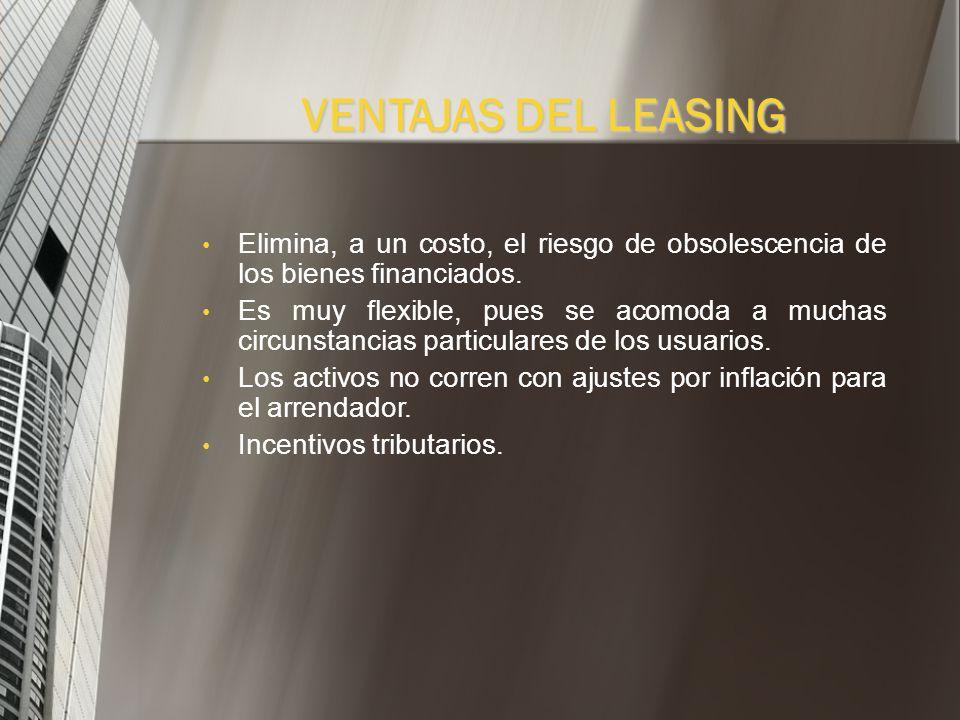 VENTAJAS DEL LEASING No exige entrega de dinero inicial por parte del cliente, pues se va cancelando a medida que se utiliza el bien. Si las partes ac