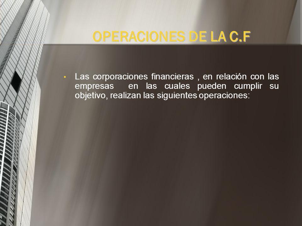 Las corporación financieras podrán efectuar con las nación, los entes territoriales y sus respectivas entidades descentralizadas todas las operaciones