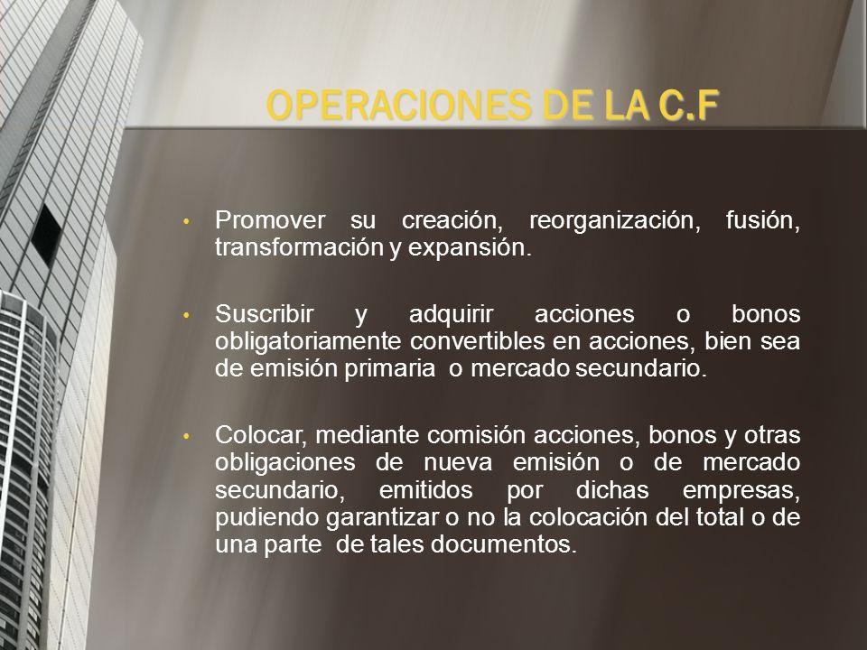 Las corporaciones financieras, en relación con las empresas en las cuales pueden cumplir su objetivo, realizan las siguientes operaciones: OPERACIONES