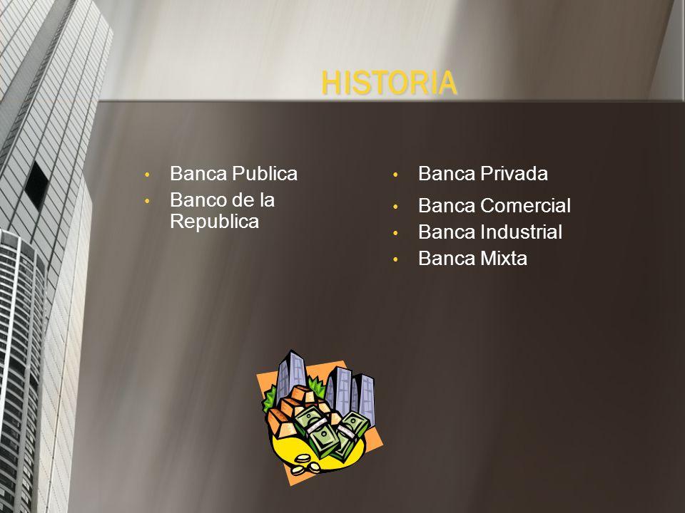 Banca Publica Banco de la Republica Banca Privada Banca Comercial Banca Industrial Banca Mixta HISTORIA