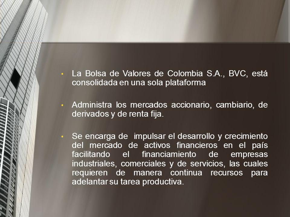 Nació el 3 de julio de 2001 - integración de las bolsas de Bogotá, Medellín y Occidente. Sociedad anónima la cual hoy en día tiene oficinas en Bogotá,