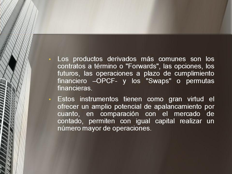 La BVC también participa en el Mercado de derivados a través de las Operaciones a Plazo de Cumplimiento Financiero, las cuales se implementaron en Col