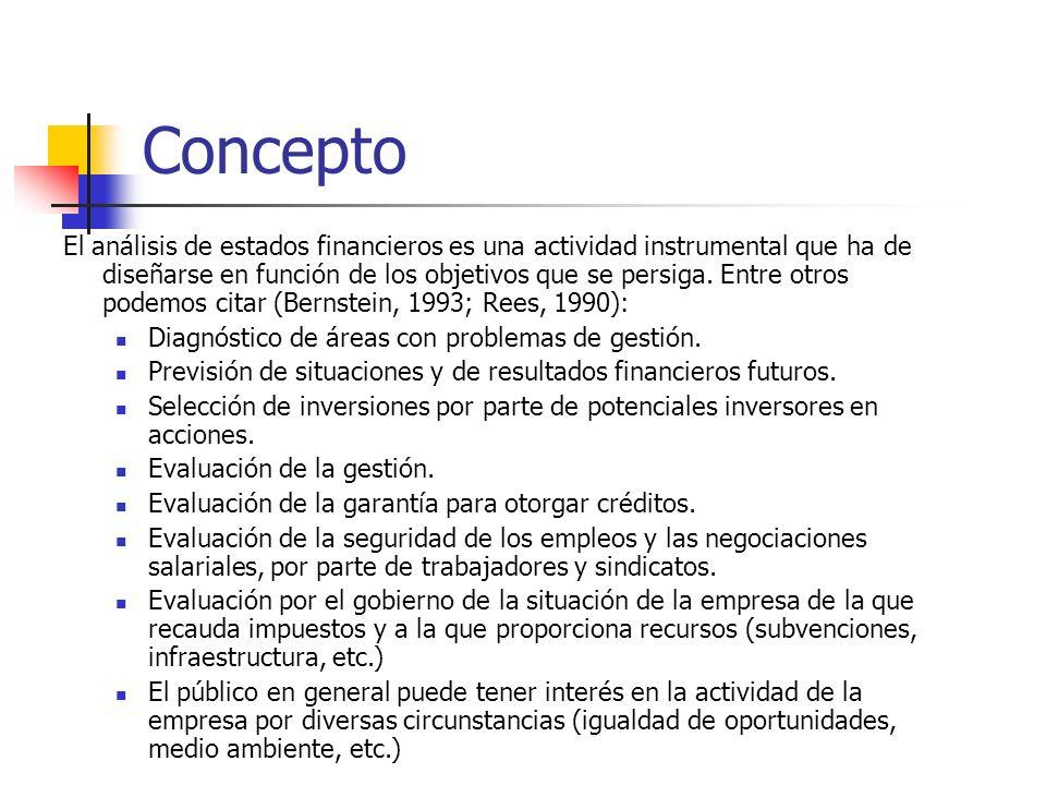 Concepto El análisis de estados financieros es una actividad instrumental que ha de diseñarse en función de los objetivos que se persiga. Entre otros