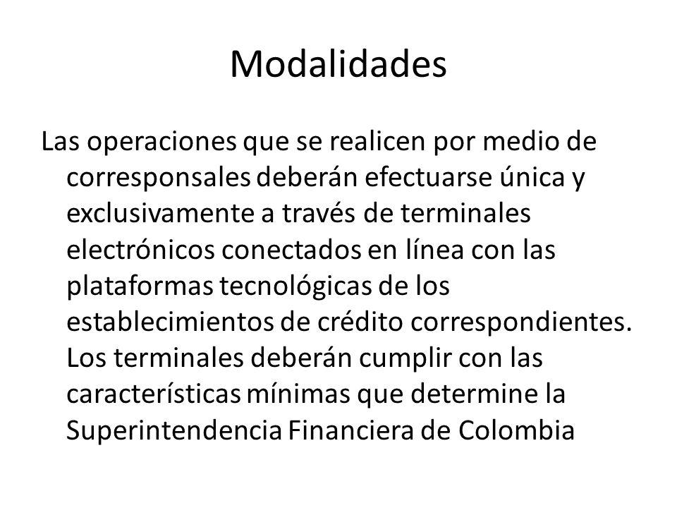 Modalidades Las operaciones que se realicen por medio de corresponsales deberán efectuarse única y exclusivamente a través de terminales electrónicos