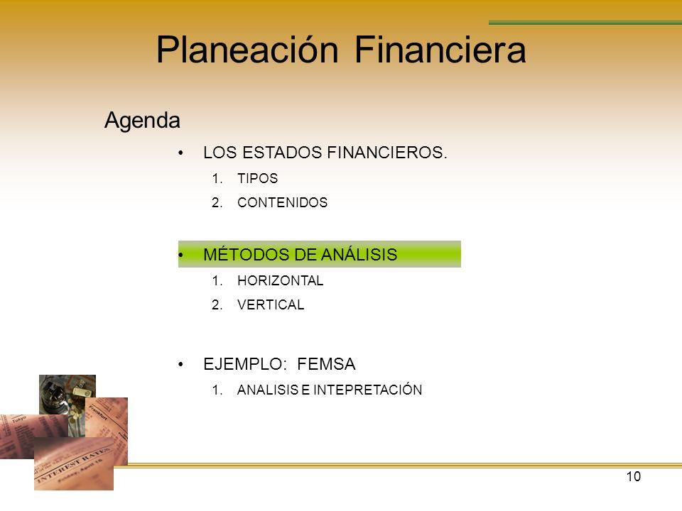 10 Planeación Financiera Agenda LOS ESTADOS FINANCIEROS. 1.TIPOS 2.CONTENIDOS MÉTODOS DE ANÁLISIS 1.HORIZONTAL 2.VERTICAL EJEMPLO: FEMSA 1.ANALISIS E