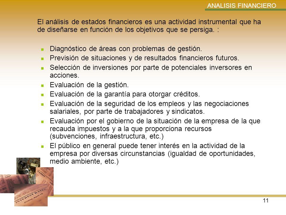 11 ANALISIS FINANCIERO El análisis de estados financieros es una actividad instrumental que ha de diseñarse en función de los objetivos que se persiga