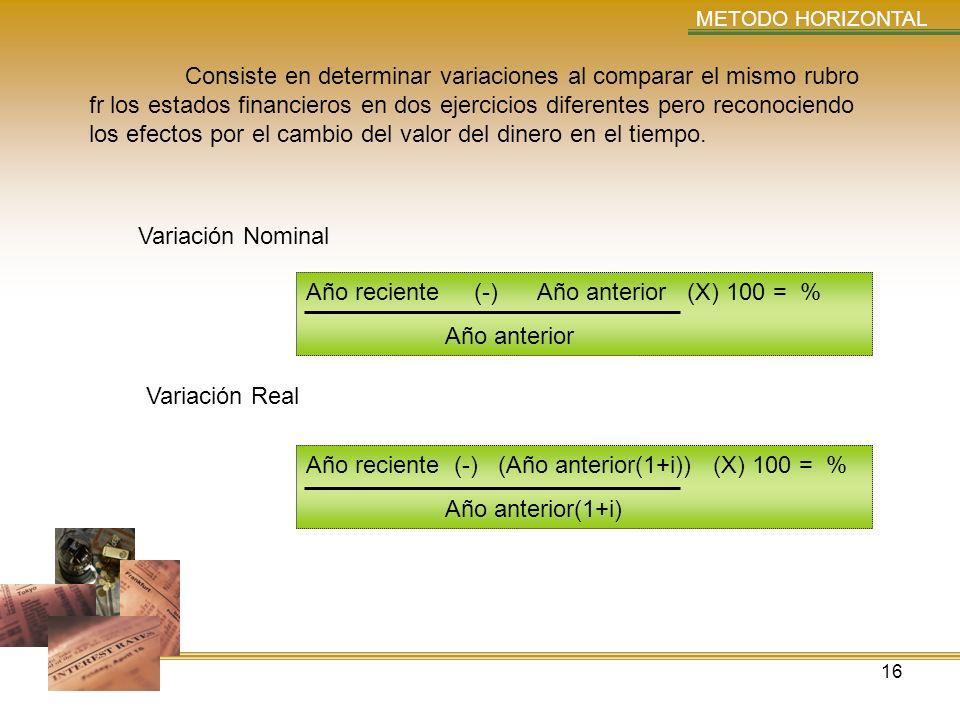 16 METODO HORIZONTAL Consiste en determinar variaciones al comparar el mismo rubro fr los estados financieros en dos ejercicios diferentes pero recono