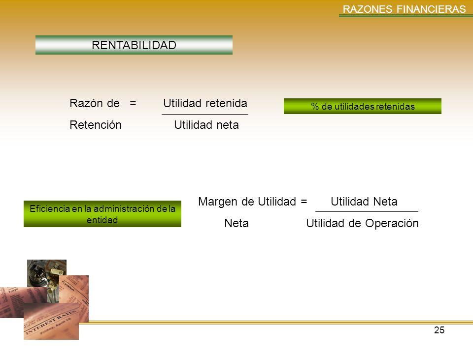 25 RAZONES FINANCIERAS RENTABILIDAD Razón de = Utilidad retenida Retención Utilidad neta Margen de Utilidad = Utilidad Neta Neta Utilidad de Operación