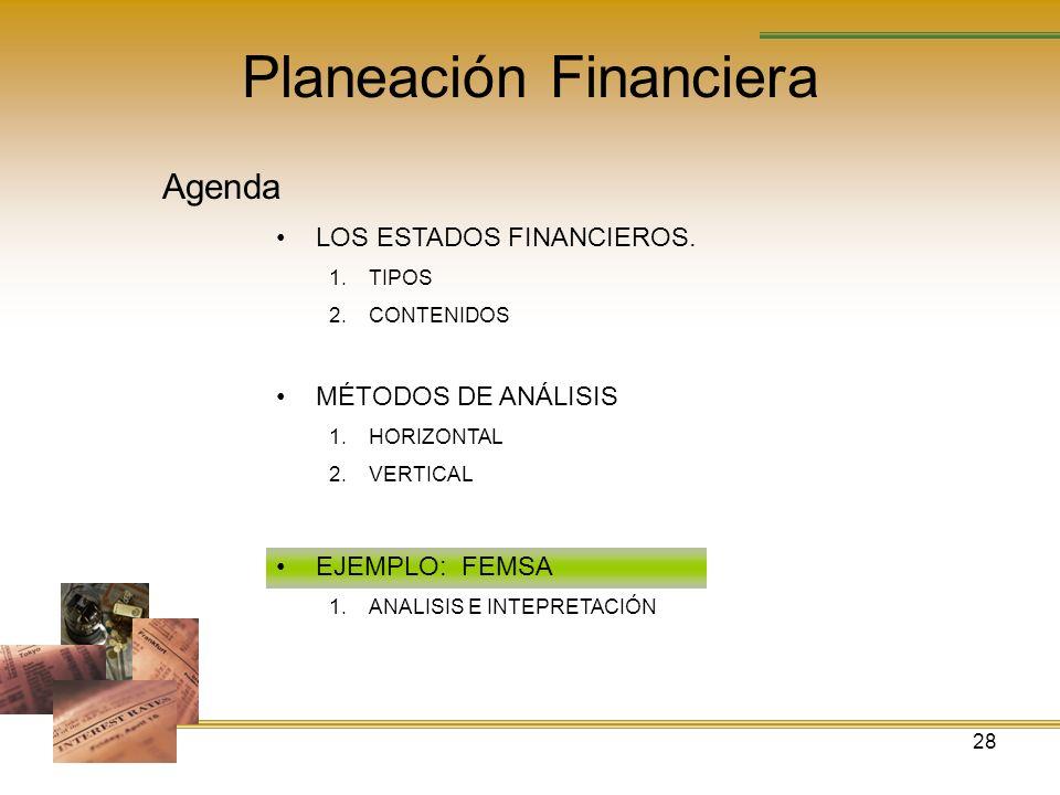 28 Planeación Financiera Agenda LOS ESTADOS FINANCIEROS. 1.TIPOS 2.CONTENIDOS MÉTODOS DE ANÁLISIS 1.HORIZONTAL 2.VERTICAL EJEMPLO: FEMSA 1.ANALISIS E