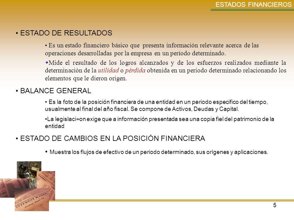 5 ESTADOS FINANCIEROS ESTADO DE RESULTADOS Es un estado financiero básico que presenta información relevante acerca de las operaciones desarrolladas p