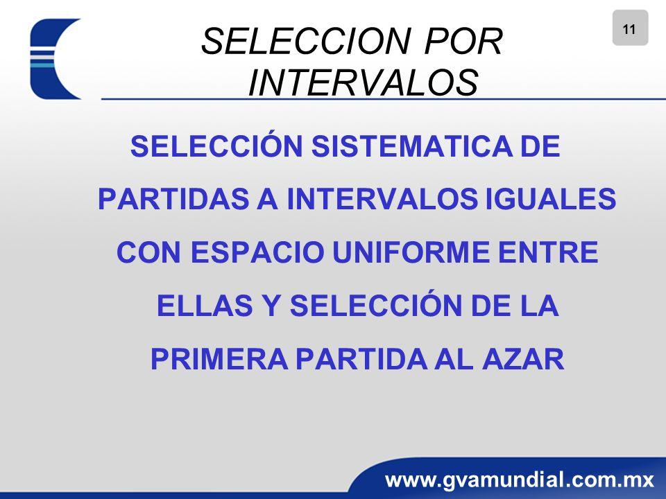 11 www.gvamundial.com.mx SELECCION POR INTERVALOS SELECCIÓN SISTEMATICA DE PARTIDAS A INTERVALOS IGUALES CON ESPACIO UNIFORME ENTRE ELLAS Y SELECCIÓN DE LA PRIMERA PARTIDA AL AZAR