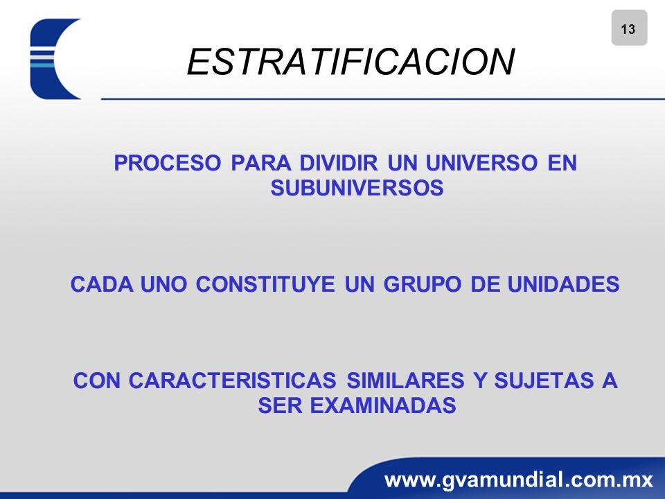 13 www.gvamundial.com.mx ESTRATIFICACION PROCESO PARA DIVIDIR UN UNIVERSO EN SUBUNIVERSOS CADA UNO CONSTITUYE UN GRUPO DE UNIDADES CON CARACTERISTICAS SIMILARES Y SUJETAS A SER EXAMINADAS
