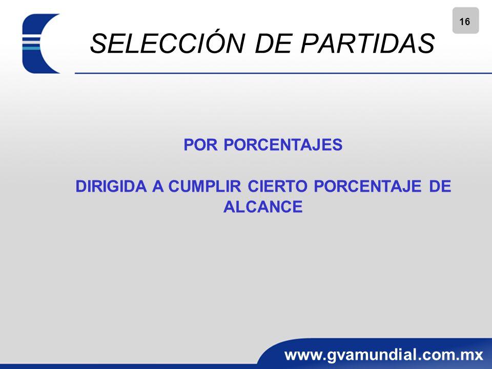 16 www.gvamundial.com.mx SELECCIÓN DE PARTIDAS POR PORCENTAJES DIRIGIDA A CUMPLIR CIERTO PORCENTAJE DE ALCANCE