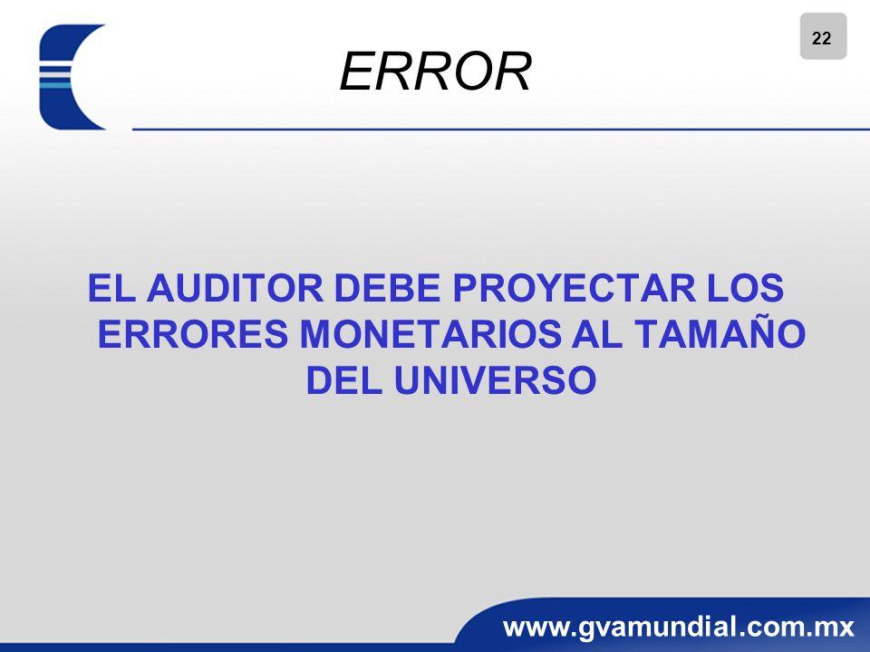 22 www.gvamundial.com.mx ERROR EL AUDITOR DEBE PROYECTAR LOS ERRORES MONETARIOS AL TAMAÑO DEL UNIVERSO