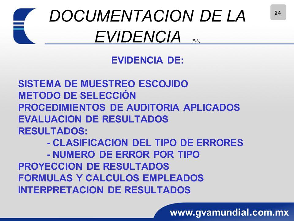 24 www.gvamundial.com.mx DOCUMENTACION DE LA EVIDENCIA (FIN) EVIDENCIA DE: SISTEMA DE MUESTREO ESCOJIDO METODO DE SELECCIÓN PROCEDIMIENTOS DE AUDITORIA APLICADOS EVALUACION DE RESULTADOS RESULTADOS: - CLASIFICACION DEL TIPO DE ERRORES - NUMERO DE ERROR POR TIPO PROYECCION DE RESULTADOS FORMULAS Y CALCULOS EMPLEADOS INTERPRETACION DE RESULTADOS