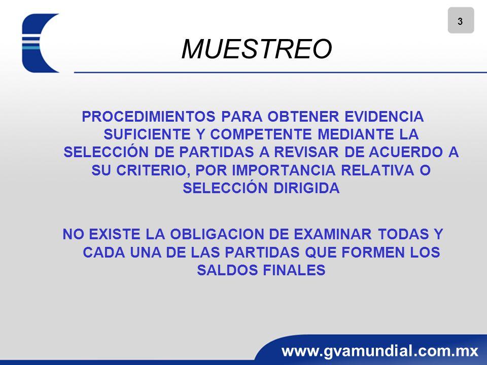 3 www.gvamundial.com.mx MUESTREO PROCEDIMIENTOS PARA OBTENER EVIDENCIA SUFICIENTE Y COMPETENTE MEDIANTE LA SELECCIÓN DE PARTIDAS A REVISAR DE ACUERDO A SU CRITERIO, POR IMPORTANCIA RELATIVA O SELECCIÓN DIRIGIDA NO EXISTE LA OBLIGACION DE EXAMINAR TODAS Y CADA UNA DE LAS PARTIDAS QUE FORMEN LOS SALDOS FINALES