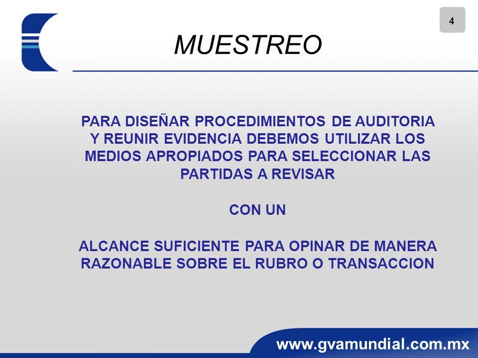 4 www.gvamundial.com.mx PARA DISEÑAR PROCEDIMIENTOS DE AUDITORIA Y REUNIR EVIDENCIA DEBEMOS UTILIZAR LOS MEDIOS APROPIADOS PARA SELECCIONAR LAS PARTIDAS A REVISAR CON UN ALCANCE SUFICIENTE PARA OPINAR DE MANERA RAZONABLE SOBRE EL RUBRO O TRANSACCION MUESTREO