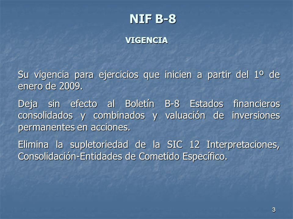 3 NIFB-8 NIF B-8 VIGENCIA Su vigencia para ejercicios que inicien a partir del 1º de enero de 2009. Deja sin efecto al Boletín B-8 Estados financieros