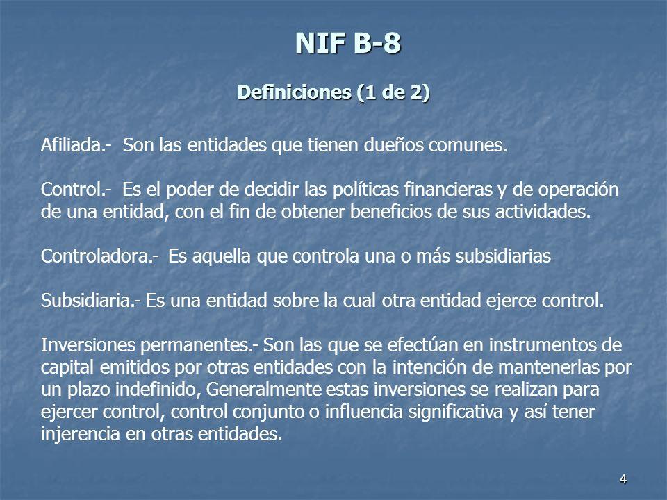 5 NIFB-8 NIF B-8 Definiciones (2 de 2) Estados financieros consolidados, son los estados que presentan la situación financiera, los resultados, las variaciones en el capital contable y los flujos de efectivo, en forma consolidada de una entidad económica integrada por la controladora y sus subsidiarias.