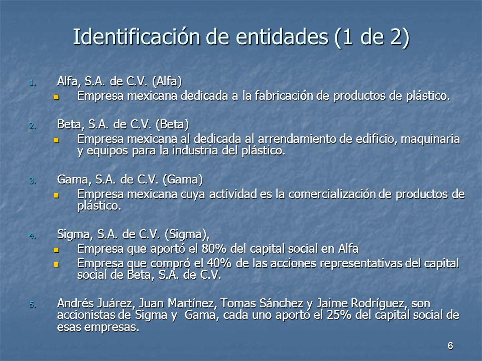 7 Identificación de entidades (2 de 2) Con la información precedente, tenemos las siguientes conclusiones: Con la información precedente, tenemos las siguientes conclusiones: Sigma, es controladora de Alfa y Controladora de Beta.