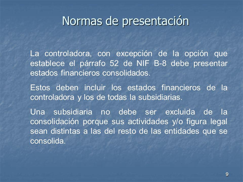 9 Normas de presentación La controladora, con excepción de la opción que establece el párrafo 52 de NIF B-8 debe presentar estados financieros consoli