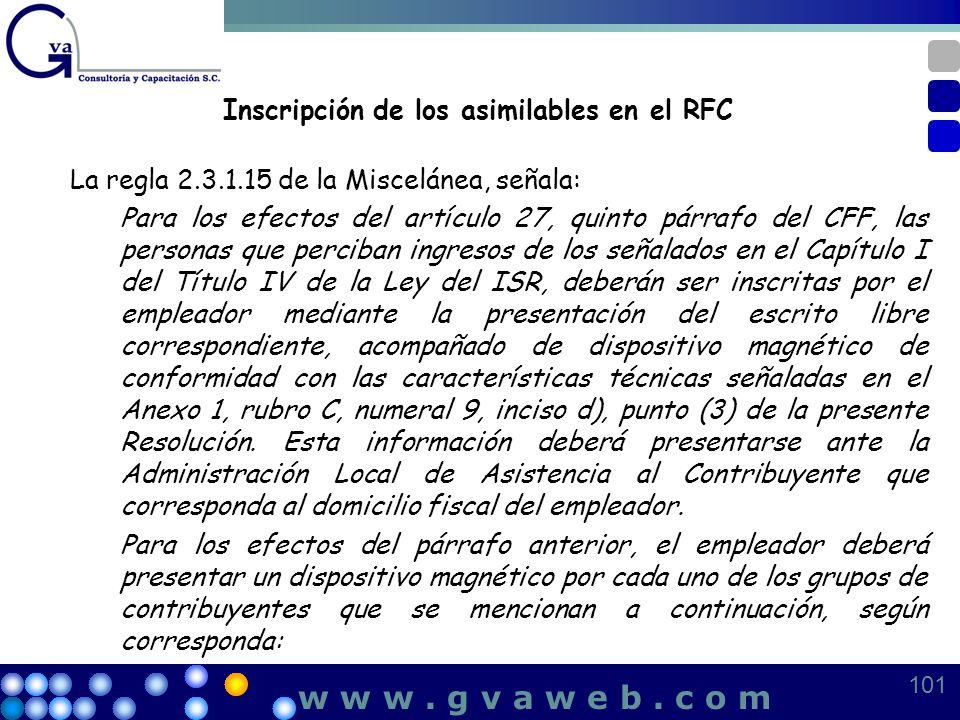 Inscripción de los asimilables en el RFC La regla 2.3.1.15 de la Miscelánea, señala: Para los efectos del artículo 27, quinto párrafo del CFF, las per