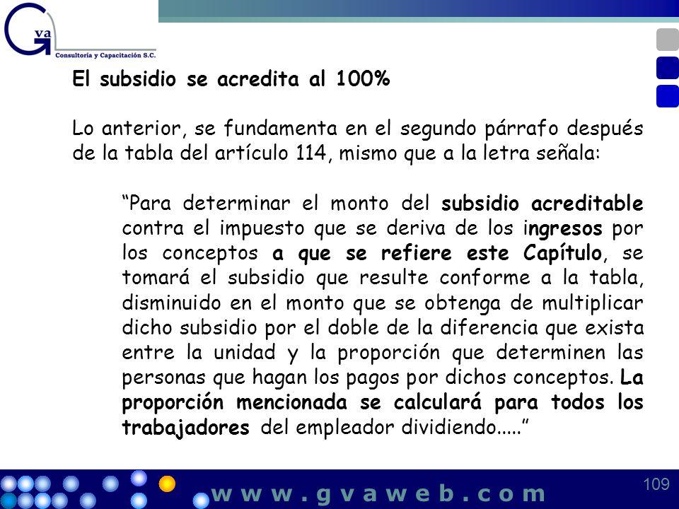 El subsidio se acredita al 100% Lo anterior, se fundamenta en el segundo párrafo después de la tabla del artículo 114, mismo que a la letra señala: Pa