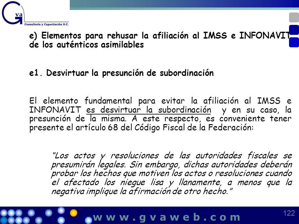 e) Elementos para rehusar la afiliación al IMSS e INFONAVIT de los auténticos asimilables e1. Desvirtuar la presunción de subordinación El elemento fu