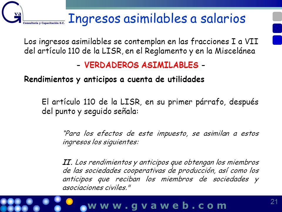 Ingresos asimilables a salarios Los ingresos asimilables se contemplan en las fracciones I a VII del artículo 110 de la LISR, en el Reglamento y en la