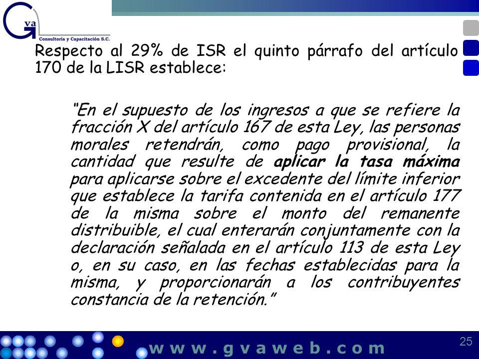 Respecto al 29% de ISR el quinto párrafo del artículo 170 de la LISR establece: En el supuesto de los ingresos a que se refiere la fracción X del artí