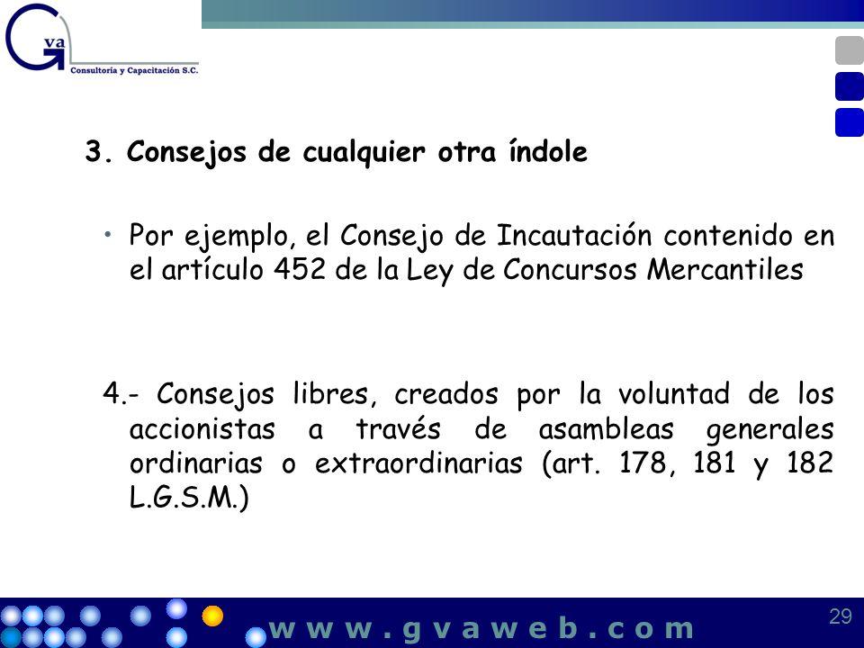 3. Consejos de cualquier otra índole Por ejemplo, el Consejo de Incautación contenido en el artículo 452 de la Ley de Concursos Mercantiles 4.- Consej