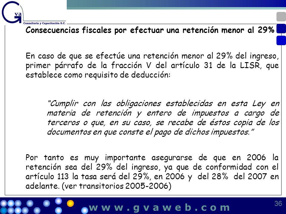 Consecuencias fiscales por efectuar una retención menor al 29% En caso de que se efectúe una retención menor al 29% del ingreso, primer párrafo de la