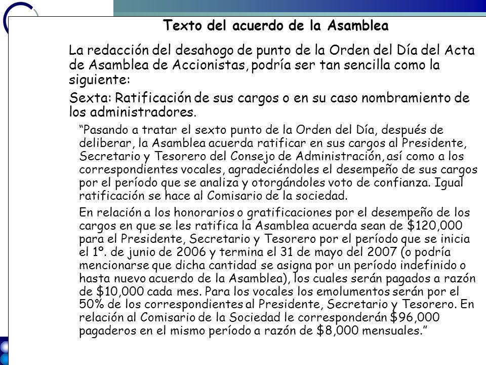 40 w w w. g v a w e b. c o m Texto del acuerdo de la Asamblea La redacción del desahogo de punto de la Orden del Día del Acta de Asamblea de Accionist