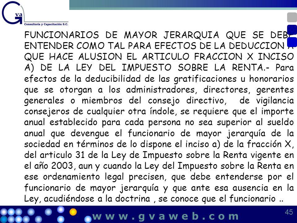 FUNCIONARIOS DE MAYOR JERARQUIA QUE SE DEBE ENTENDER COMO TAL PARA EFECTOS DE LA DEDUCCION A QUE HACE ALUSION EL ARTICULO FRACCION X INCISO A) DE LA L