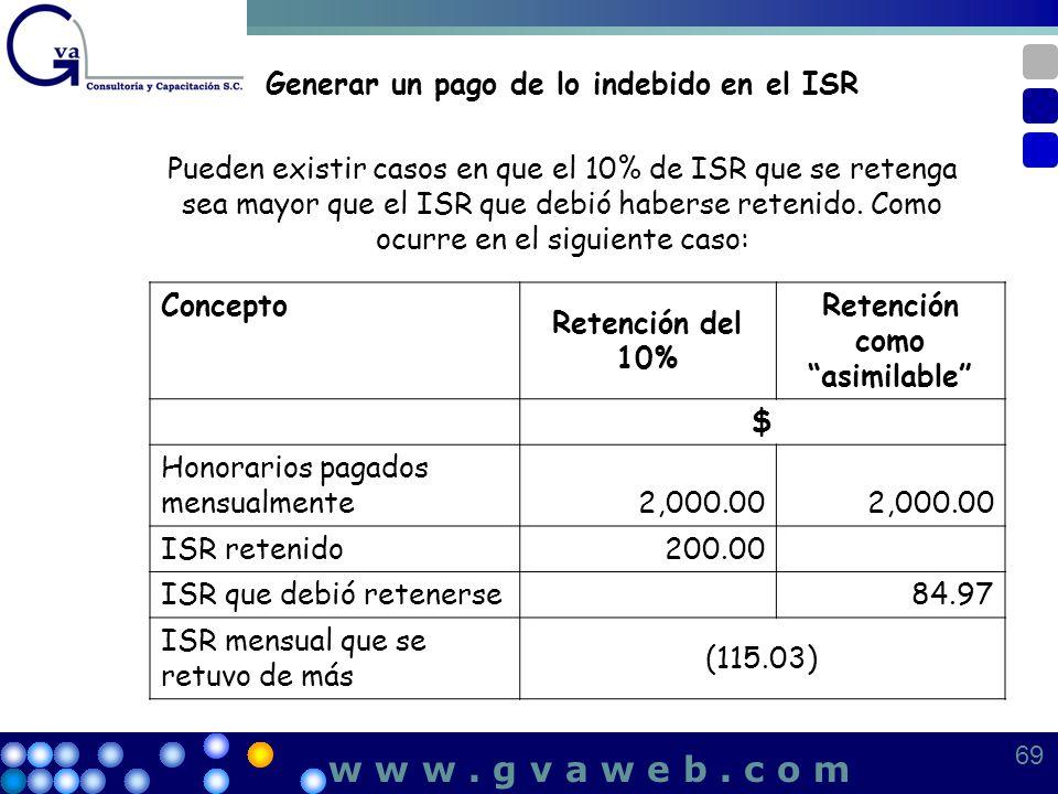 Generar un pago de lo indebido en el ISR Pueden existir casos en que el 10% de ISR que se retenga sea mayor que el ISR que debió haberse retenido. Com