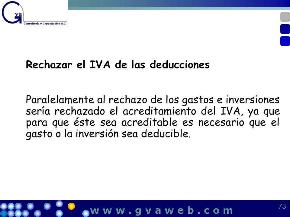 Rechazar el IVA de las deducciones Paralelamente al rechazo de los gastos e inversiones sería rechazado el acreditamiento del IVA, ya que para que ést