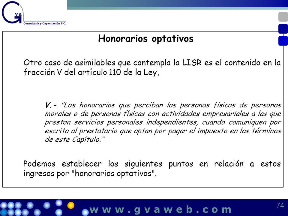 Honorarios optativos Otro caso de asimilables que contempla la LISR es el contenido en la fracción V del artículo 110 de la Ley, V.-